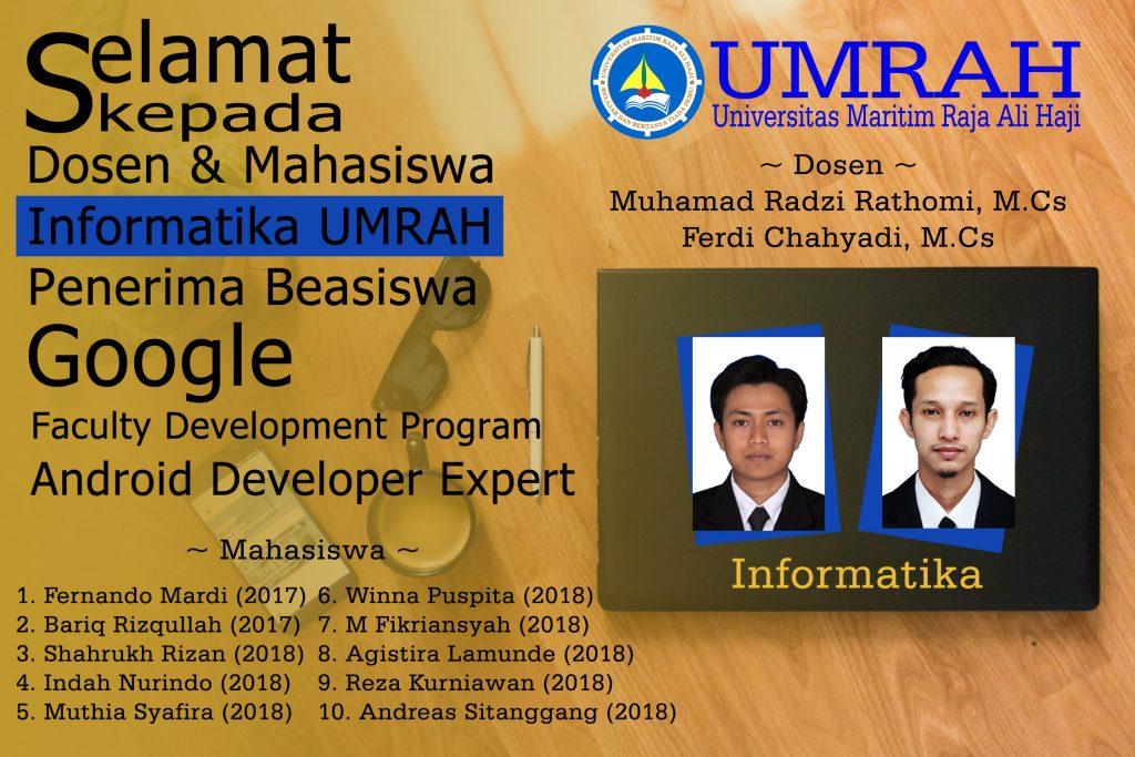 Dosen & Mahasiswa Informatika UMRAH Mendapatkan Beasiswa dari Google